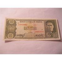 Боливия 10 песо 1962
