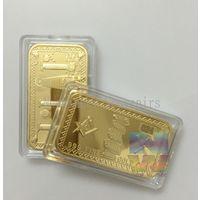 Масоны позолоченный слиток 1 унция, 24 к золото  (в капсуле)