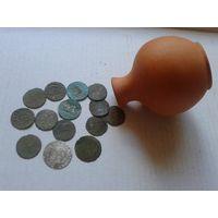 Лот мелких Ag монет, 14 шт+ кувшинчик-бонус. Невысокий старт.