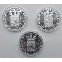 Нидерланды,  История монеты 3 шт. Ag 925 - 98.4г  8-1-4*6