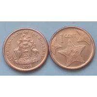 Багамские острова 1 цент 2009 года.Из ролла.