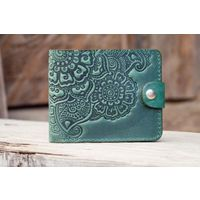 Маленький зеленый кожаный кошелек Восточный Сад
