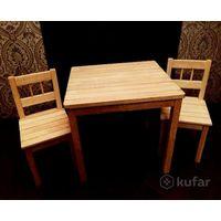 Стол и два стульчика (натуральное дерево) детские
