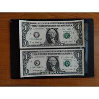 1 доллар США UNC 2009 год номера подряд цена за одну