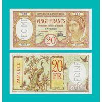 [КОПИЯ] Таити 20 франков 1928 г. Образец.