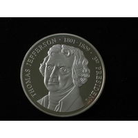 """Доллар памятный """"Thomas Jefferson-1801-1809"""", 900 пр., полировка, пруф, в капсуле."""