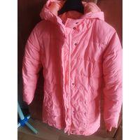 Куртка пальто шикарного цвета коралл на 8-9 лет