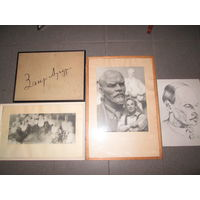 Личная подпись З.И.Азгура,рисунок Янки Купалы 1935г,2 фотографии З.И.Азгур в мастерской.Из личного архива З.Азгура.