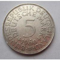 ФРГ. 5 марок 1960 D, Серебро