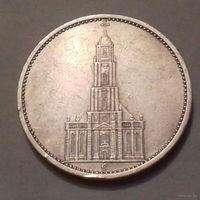 5 марок, Германия 1935 E, кирха, серебро 900, МД закрыт в 1953 г.