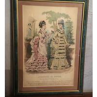 Гравюра  Французская Мода Paris ХlX век Франция