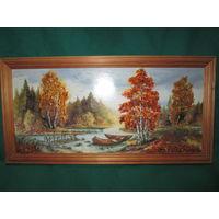 Картина-репродукция украшенная кусочками янтаря.Размер 32,5х16,5 см.
