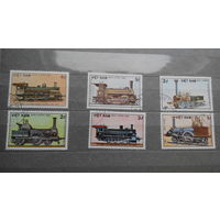 Поезда, паровозы, транспорт, техника, железная дорога, марки, Вьетнам, 1985