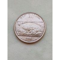 25 центов США 2005 (Р) штат Западная Виргиния