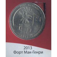25 центов США 2013 г. 19 парк Мак-Генри D