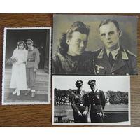 Отличная подборка из трех фото по 3 рейху, открыточный формат, Германия 1933-1945 гг., Полиция, Люфтваффе летчики, кортик 1-й модели, знак!