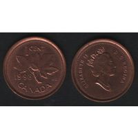 Канада _km289 1 цент 1998 год (тип-2) km289a не магнит (f31)**