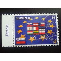 Словения 2004 вступление в евросоюз, флаги