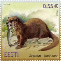 Эстония 2015 г.  Эстонская фауна. Выдра.