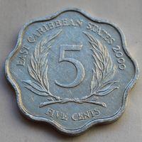 Восточные Карибы, 5 центов 2000 г