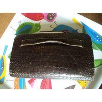 Старинный кожаный кошелек-клатч 23*13 см
