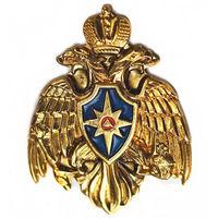 Знак фрачный. МЧС РОССИИ. Логотип эмблема орел. Латунь цанга.