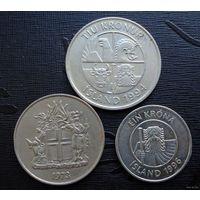 Исландия. 3 монеты 1973-1996 г.