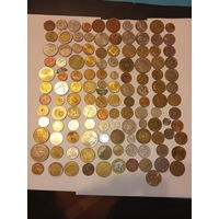 Сборный лот монет 120 шт. с серебряными кусками монет  .
