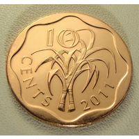 """Эсватини """"Свазиленд"""" 10 центов 2011 год KM#57 """"Король Мсвати III"""""""