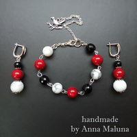 Комплект украшений ручной работы (браслет и серьги) из камней