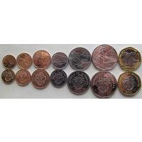 Сейшельские острова. набор 7 монет 1, 5, 10, 25 центов, 1, 5, 10 рупий 2016 год UNC