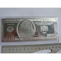 100 долларов 2003 года - серебряная пластина 4 унции серебра 999 пробы