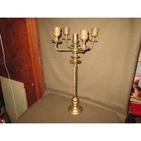 С 1 рубля!Подсвечник бронзовый на 5 свечей,высота 0,55 м,вес 3,5 кг.