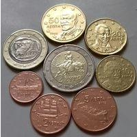 Полный ГОДОВОЙ набор евро монет Греция 2002 г. (1, 2, 5, 10, 20, 50 евроцентов, 1, 2 евро)