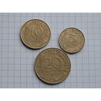 Лот #78: Франция: 5 сантимов 1975, 10 сантимов 1976, 20 сантимов 1978