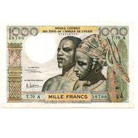 Берег слоновой кости (Франц. Зап. Африка), 1000 франков 1959-1965 год