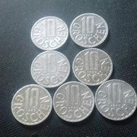 10 грошей, Австрия 1975, 1979, 1982, 1986, 1989, 1990, 1991 г.