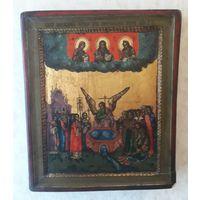 Икона Образ происхождения честных древ животворящего креста на золоте 29,5х34,5х4,2см 1 половина 19 века крайне редкий сюжет