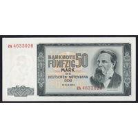 Германия ГДР 50 марок 1964 года. Замещенная, Replacement note (серия ZA). Редкая! Состояние aUNC!
