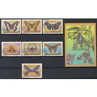 Бабочки Йемен 1990 год серия из 1 блока и 7 марок