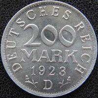 YS: Германия, Веймарская республика, 200 марок 1923D, KM# 35