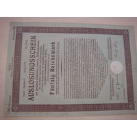 Акция Облигация Германия Третий рейх 50 рейхсмарок 1926 42