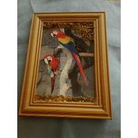 Картина ,попугаи,в янтаре.