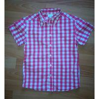Рубашка с коротким рукавом в красно-белую клетку Vertbaudet