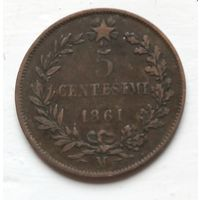 "Италия 5 чентезимо, 1861 ""M"" - Милан  2-10-27"