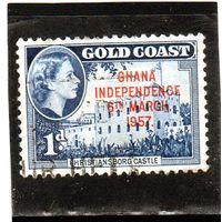 Гана. Золотой берег. Mi:GH 6. Крепость Кристиансборг. Надпечатка - независимость Ганы 6 марта 1957 г.