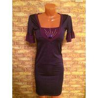 Классное платье-туника, размер 42-44 полосатое, очень классно смотрится. Красивого цвета, в полоску, цвет фиолетовый и черный. Длина 92 см, ПОгруди тянется 38-42 см. Прогадала с размером, не ношена.
