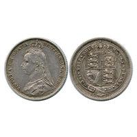 Великобритания. 6 пенсов 1887 г.