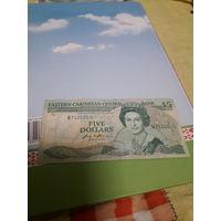 АНТИГУА И БАРБУДА 5 долларов 1986 год  /буква А,редкая/
