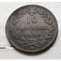 """Италия 10 чентезимо, 1894 """"BI"""" - Бирмингем  2-10-29"""